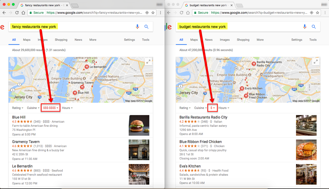 Fancy Filter for Local Search Results
